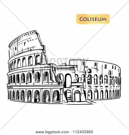 Coliseum in Rome, Italy. Colosseum hand drawn vector illustration isolated
