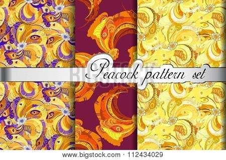 Gold orange peacock feathers abstract seamless patterns set, vector illustration