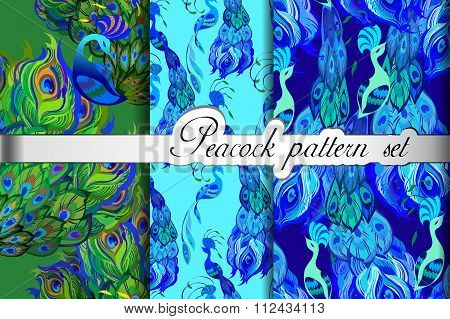 Green blue peacock feathers abstract seamless patterns set, vector illustration