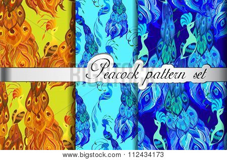 Gold blue peacock feathers abstract seamless patterns set, vector illustration