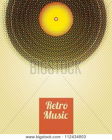 Retro Music Halftone Poster. Vector Illustration, Eps10.