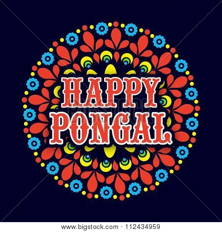 Beautiful colourful rangoli on blue background for South Indian harvesting festival, Happy Pongal celebration.
