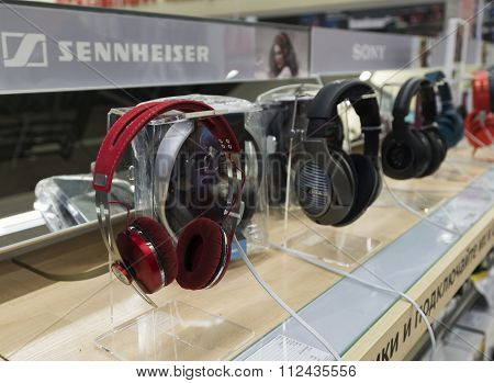 Khimki, Russia - December 22 2015. earphones in Mvideo large chain stores selling electronics and ho