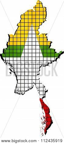 Myanmar Map With Flag Inside.eps