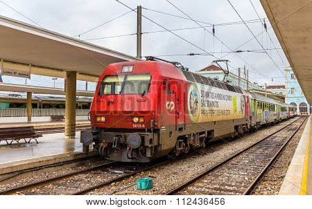 Lisbon, Portugal - April 20: Intercity Train Lisbon - Porto At Santa Apolonia Railway Station On Apr