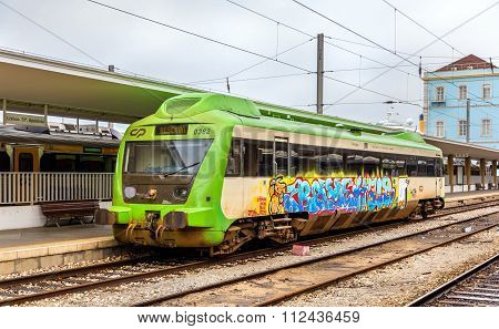 Lisbon, Portugal - April 20: Local Diesel Train At Santa Apolonia Railway Station On April 20, 2014