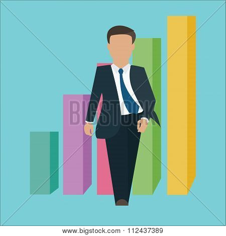 business man walking standing confident confidence with growth bar chart