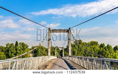 Cable-stayed Bridge On The Loire River In Tours - France
