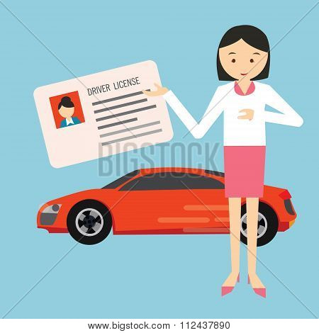 woman holding show driver driving license in front car
