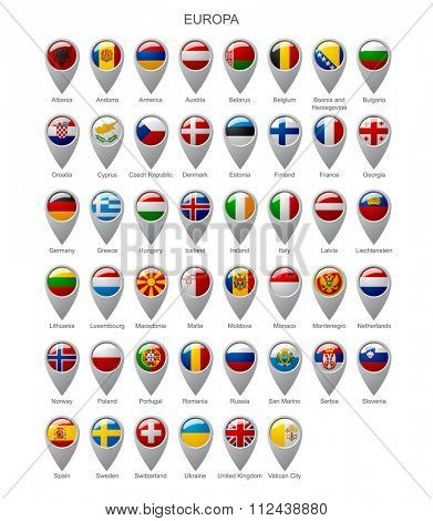 Map marker set with state flags of sovereign countries of Europa with captions in alphabet order isolated on white background