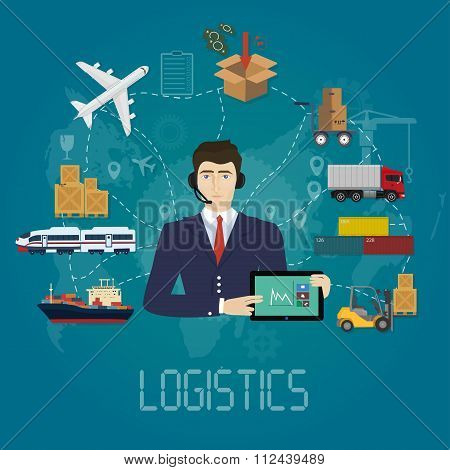 Vector logistics manager agent concept. Delivery cargo vector service illustration