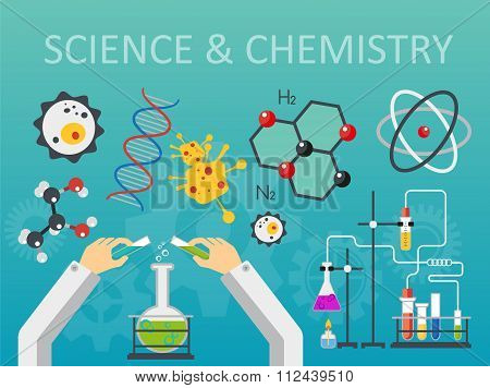 Chemical laboratory science and technology flat style design vector illustration. Scientists hands w