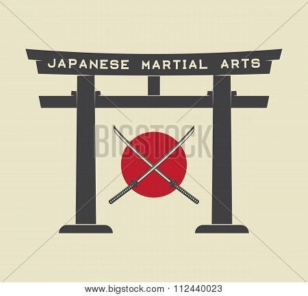Japanese Torii Gate With Japan Flag And Katana In Vintage Style. Vector Illustration