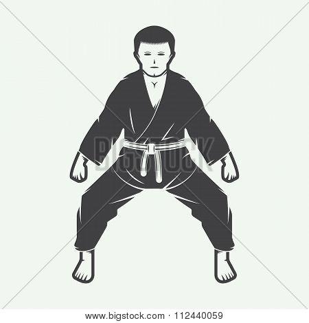 Vintage Karate Or Martial Arts Logo, Emblem, Badge, Label And Design Elements. Vector Illustration