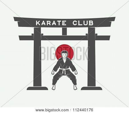 Retro Japanese Torii Gate With Japan Flag And Karate Fighter In Vintage Style. Vector Illustration