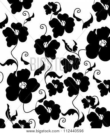 Poppy flowers black and white pattern