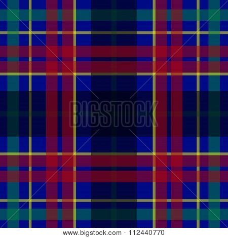 Vector seamless scottish tartan pattern in blue red green yellow and black