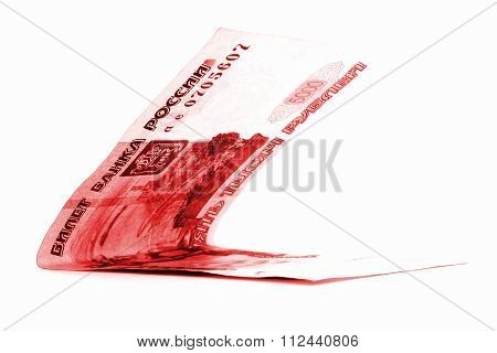 Red Russian Ruble Banknote Folded Isolated On White Background