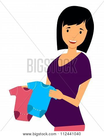 Pregnant woman chooses clothes for the baby. Vector illustration