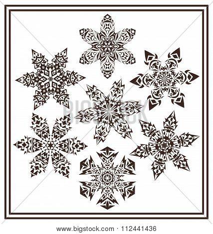 Set Of 7 Black Elegant Geometric Winter Snowflake Shapes