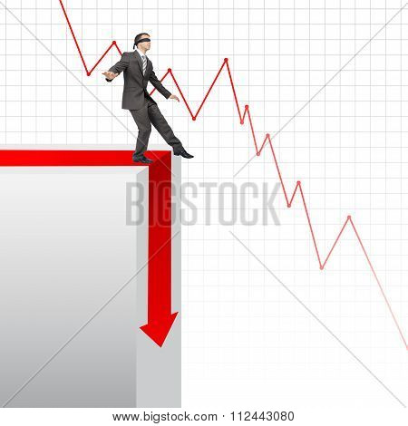 Businessman walking on edge of chart