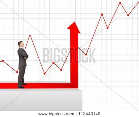 Important-looking businessman on edge of chart