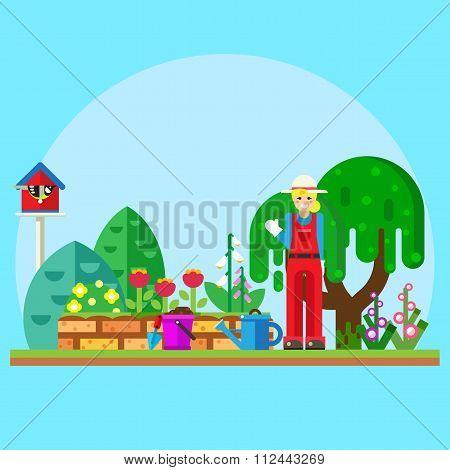 Gardener in the garden