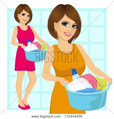 woman holding a laundry basket full of dirty clothes