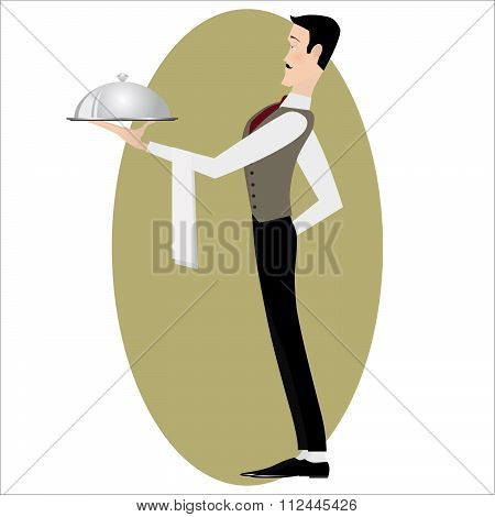 Elegant slim waiter with a serving dish