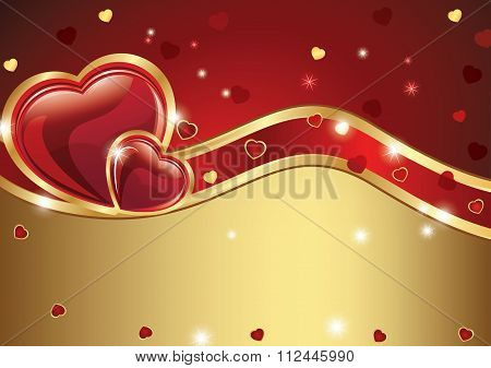 Love golden red background with hearts.