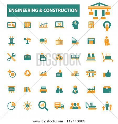 engineering, construction, Industrial business, factory, industry, meeting, logistics, manufacturing, industrial plant, engineering, business concept  icons, signs vector concept set