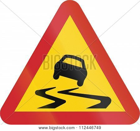 Road Sign Used In Sweden - Slippery Road