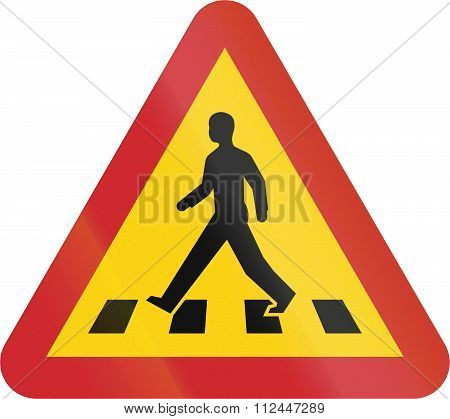 Road Sign Used In Sweden - Pedestrian Crossing