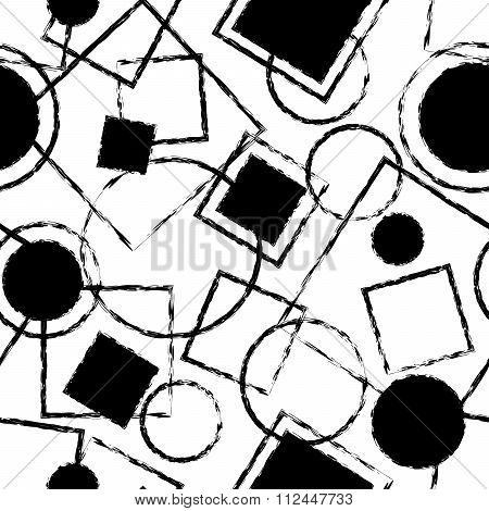 Black And White Seamless Pattern With Geometric Shapes