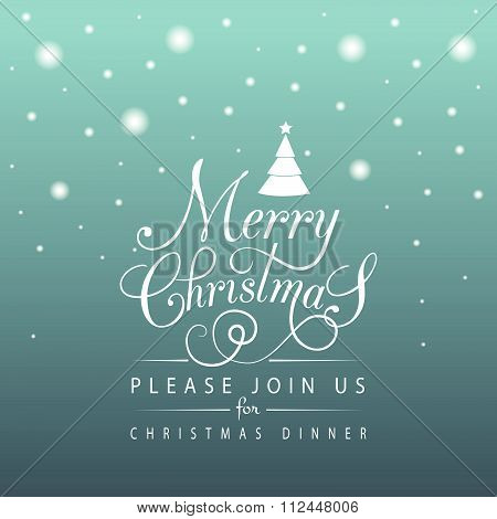 Flat Design Stlye Christmas Card With Stars And Snowflakes
