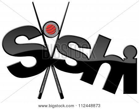 Sushi - Symbol With Black Chopsticks