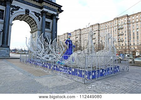 Festive Christmas Composition - Figure Snow Maiden (snow Queen) In Sleigh Near The Arc De Triomphe