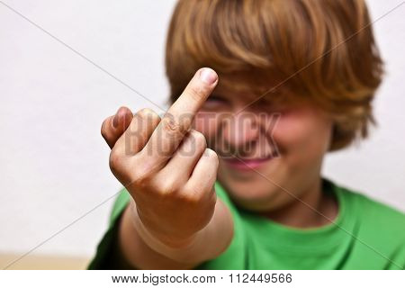 Boy Showing His Finger