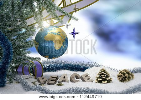 Happy New Year and Merry Christmas background with earth and peace word