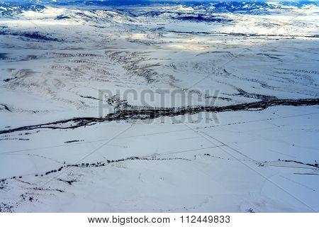 Aerial View Gallatin River Boseman Montana