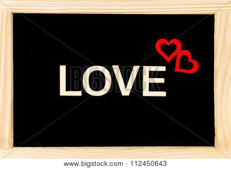 Wooden Frame Vintage Chalkboard Isolated On White With Word Love Created Of Wood Letters