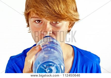 Thirsty Boy Is Drinking Water