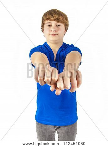 Teenage Boy With Blue Shirt Shows His Fists
