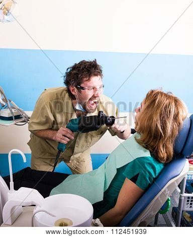 Crazy Dentist. The Patient In The Examination At The Dentist. The Patient Is Very Afraid