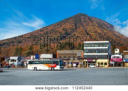 NIKKO JAPAN - NOVEMBER 16 2015: Tobu bus serves betweens Tobu Nikko station and lake Chuzenji in Nikko National Park
