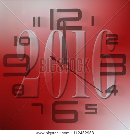 2016 New Year Red Background With Clock