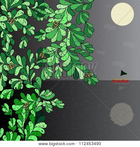 Art Boat On The Horizon, The Moon In The Night Sky Beetles On A Tree Vector Illustration