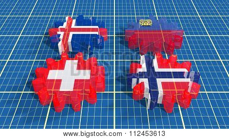 European Free Trade Association Of Four Economies Members Flags On Gears.