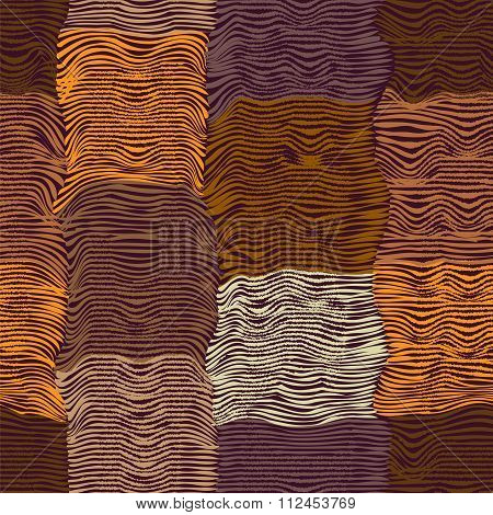 Grunge Striped And Waved Quilt Cloth Seamless Pattern In Brown,orange,violet Colors