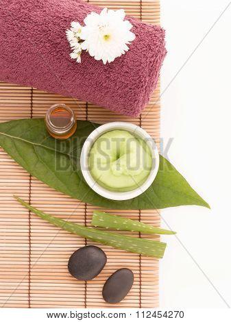 Spa Scrub And Treatment Wiht Salt, Aloe Vera On Wood White Background